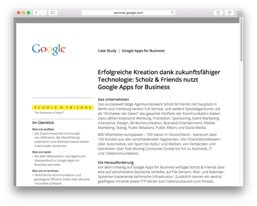 Case Study - Google Apps for Business im Einsatz bei Scholz & Friends