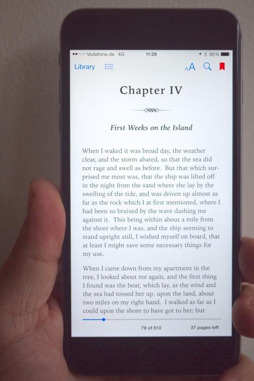 Reading on iPhone 6 Plus