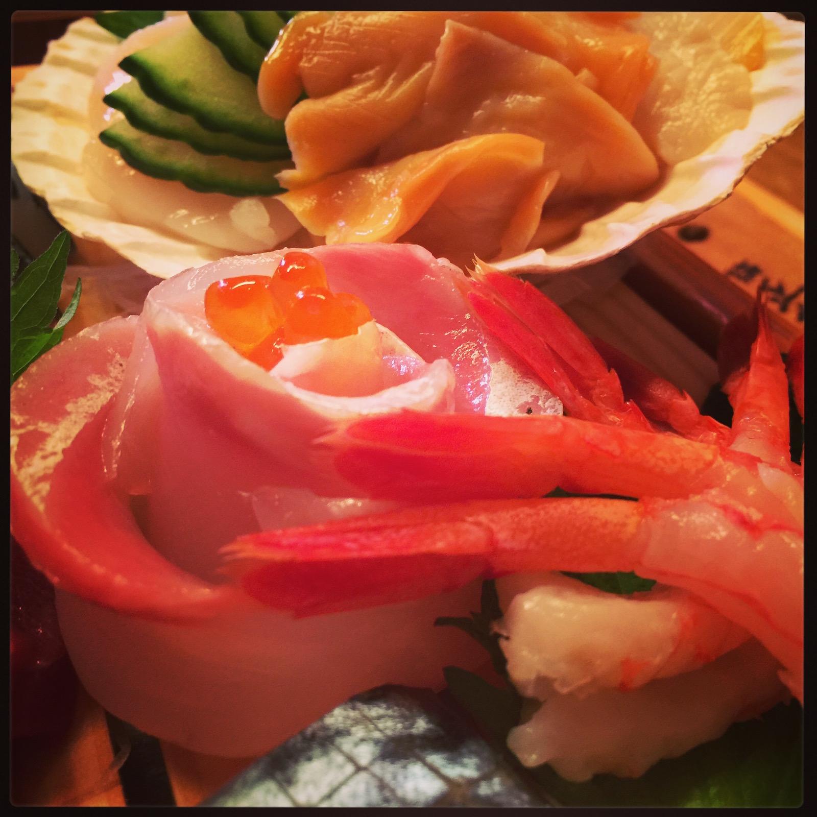 Matsumi - perch, ama ebi sashimi