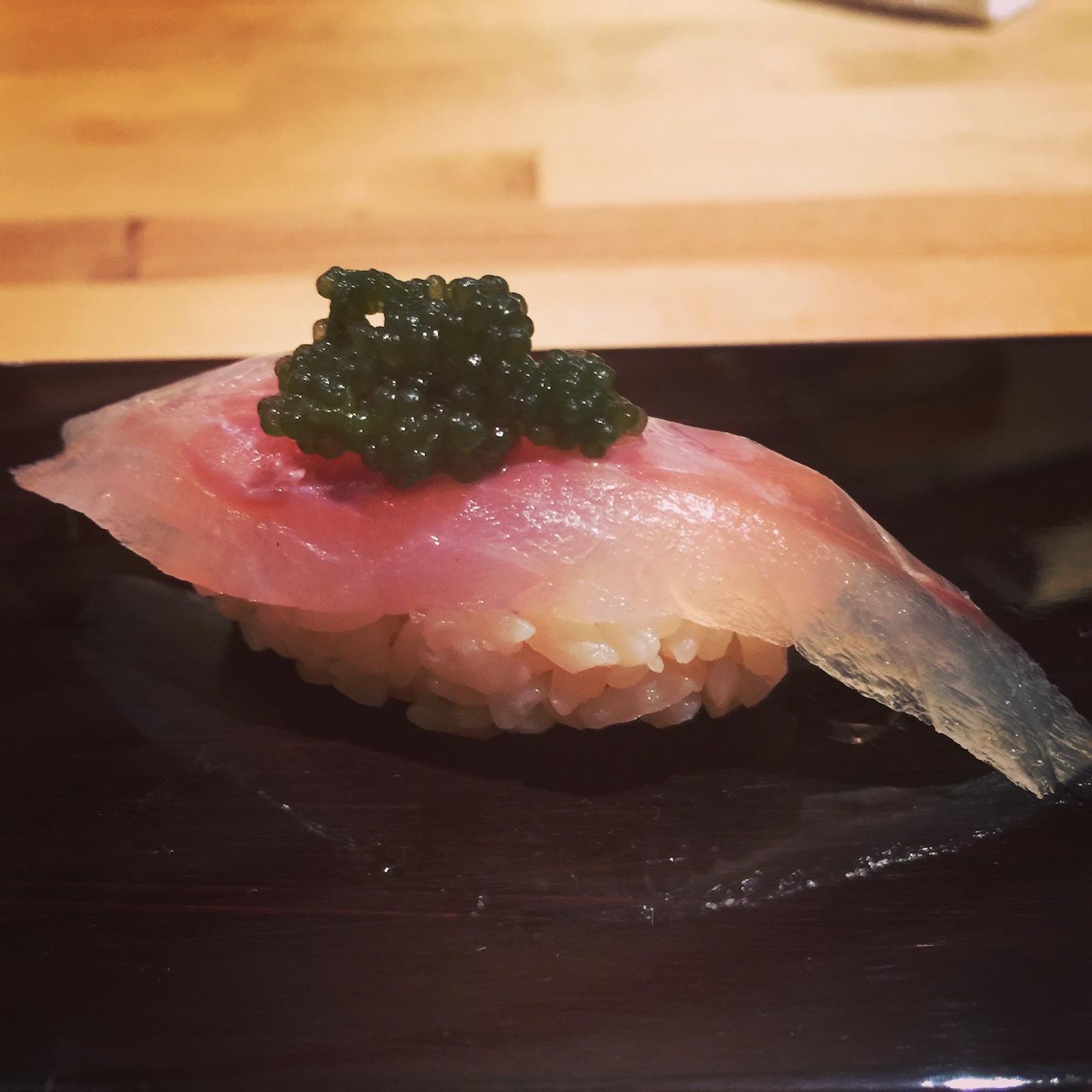 Sushi Ran - toro with white sturgeon roe nigiri
