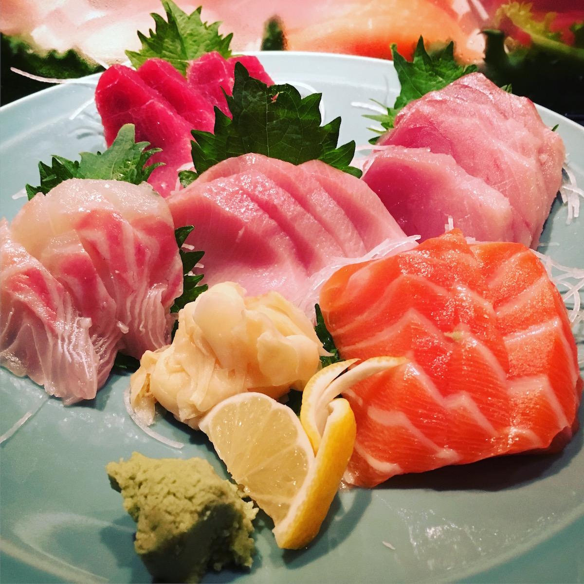 Toni's Sushi Bar - sashimi platter - maguro, hamachi, sake, cobia, kanpachi