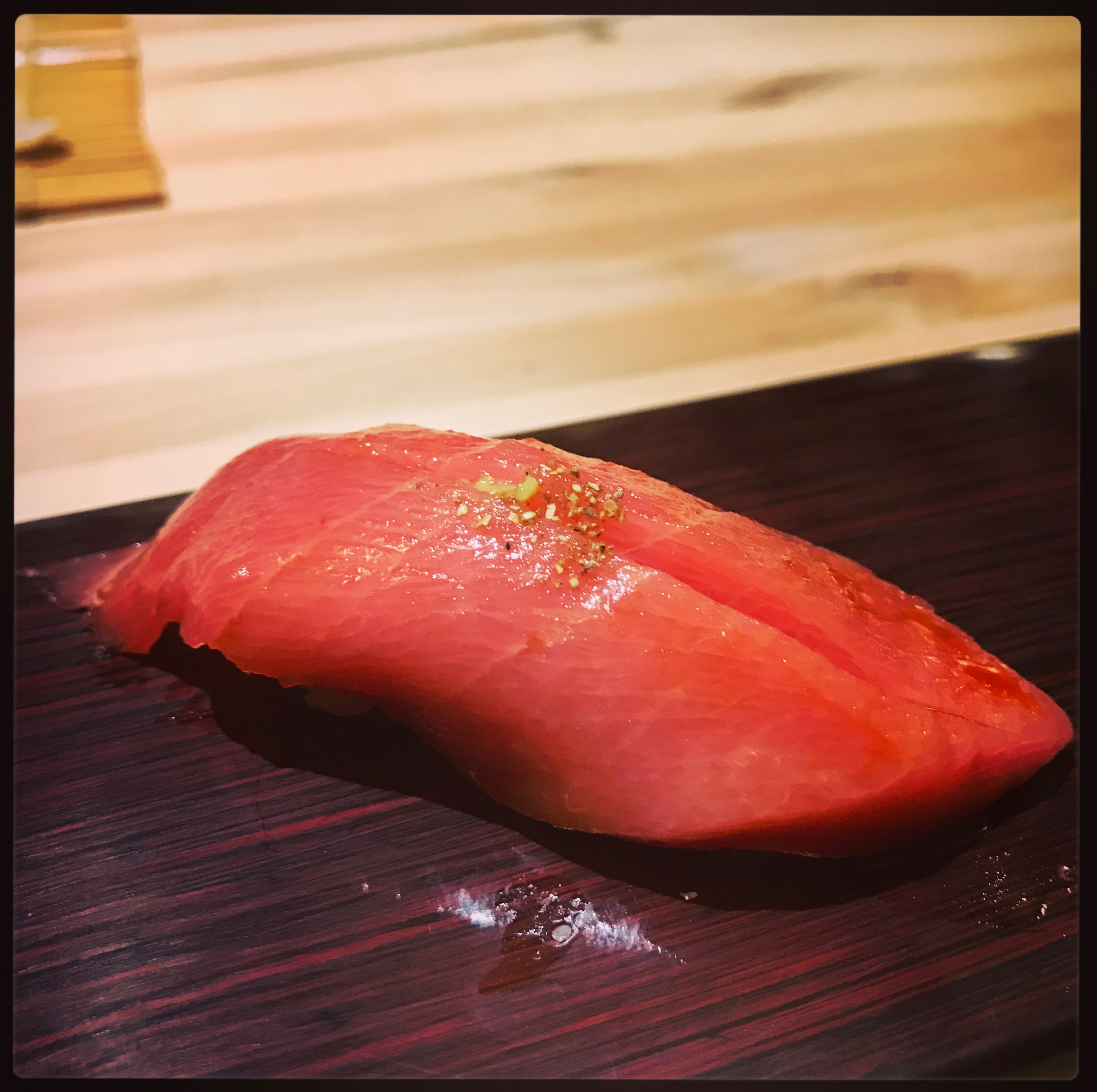 Sushi Ran - omakase - chu toro medium fatty kindai-tenku blue fin tuna nigiri