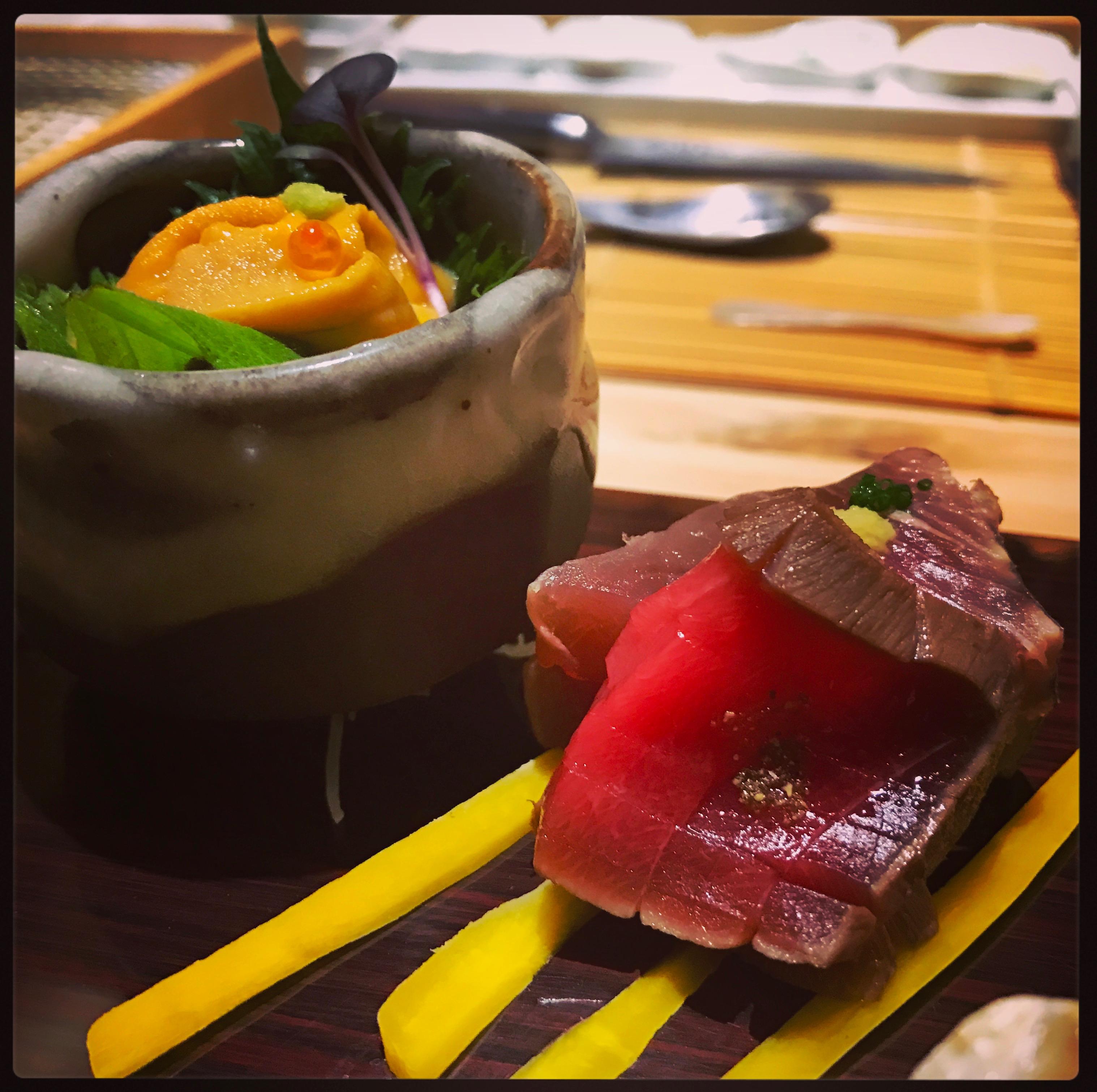 Sushi Ran - omakase - kaisu uni deep sea urchin - katsuo lightly cherrywood smoked bonito sashimi
