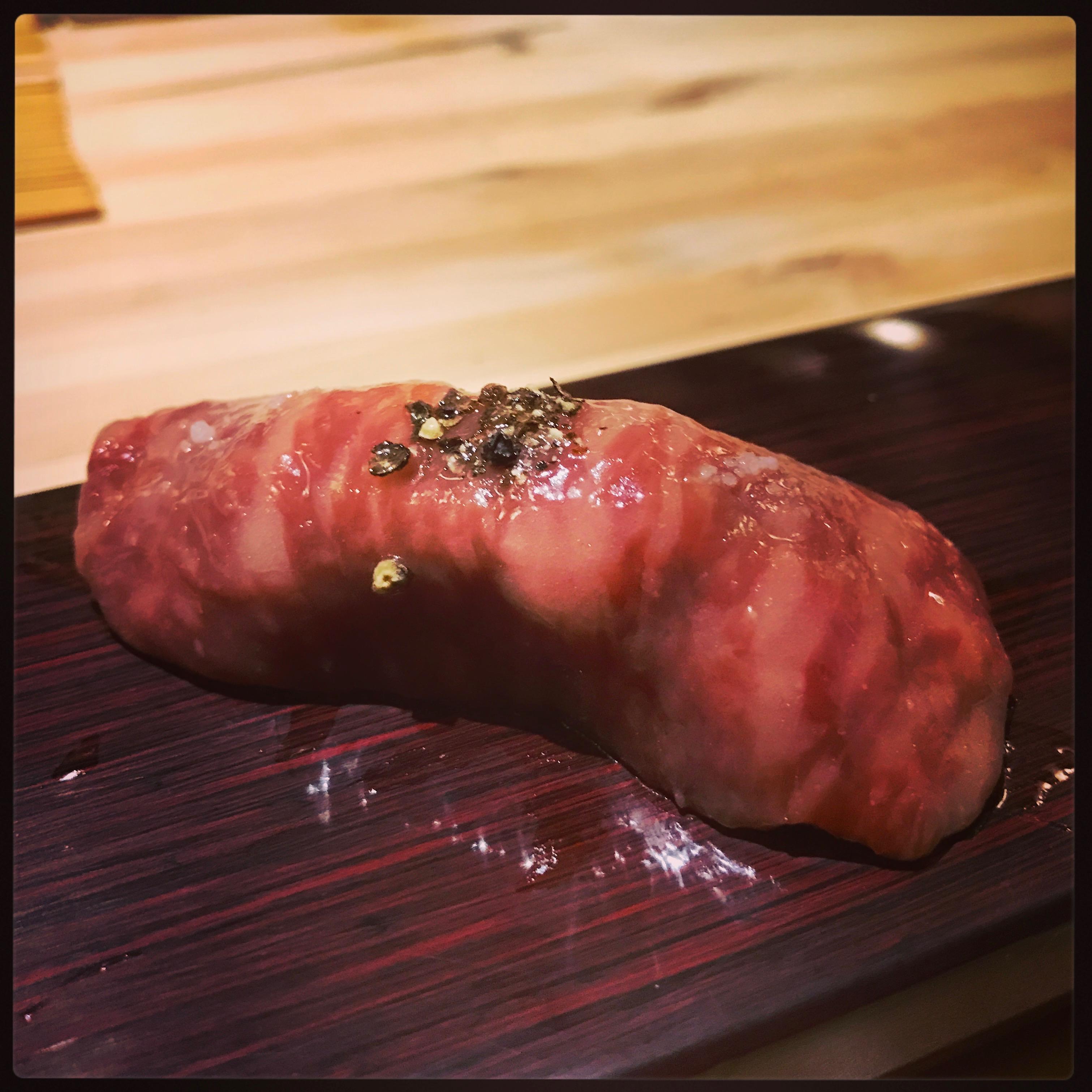 Sushi Ran - omakase - satsuma wagyu a5 japanese beef striploin nigiri - kagoshima
