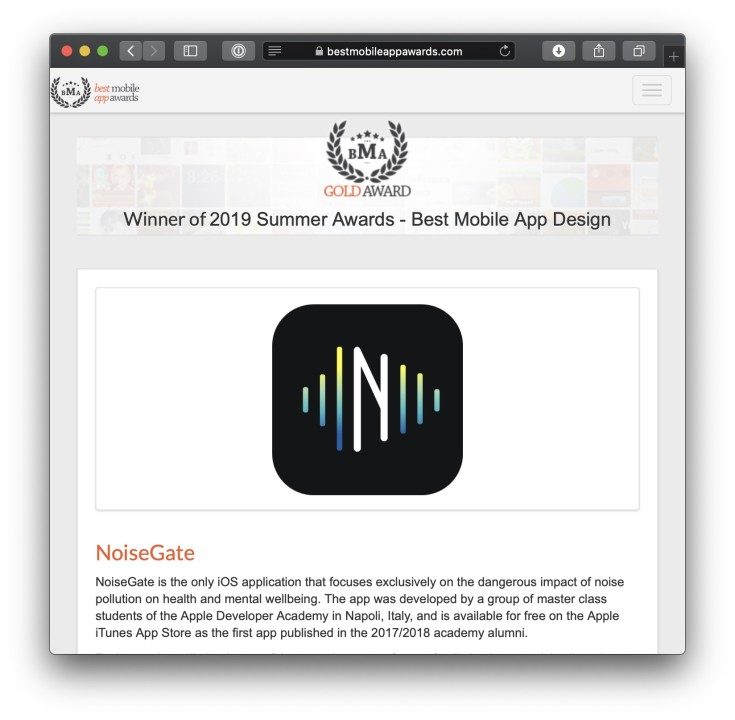 NoiseGate - Best Mobile App Design Gold Award