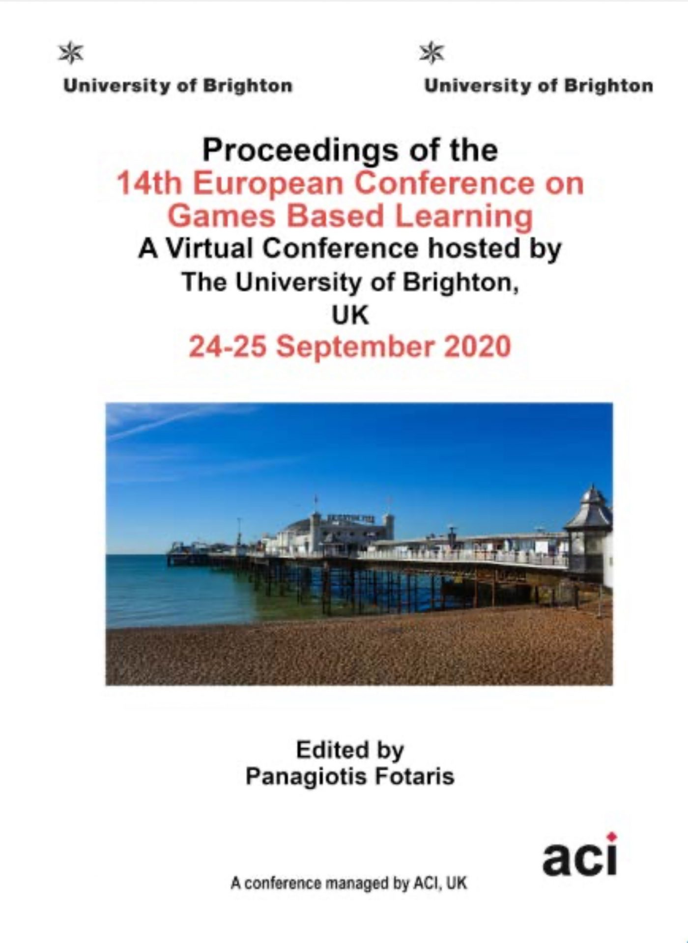 13th International Conference on Game Based Learning ECGBL 2020 Proceedings